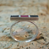 Sterling Silver and Resin Geometric Ring