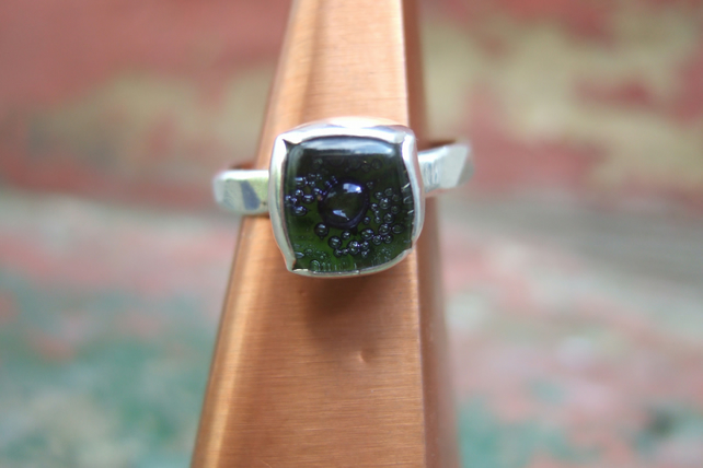 Sterling Silver and Hand Made Glass Cabachon Ring