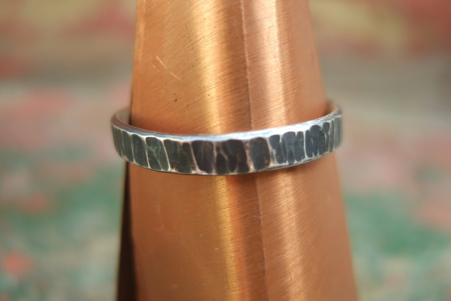Oxidised Sterling Silver Tree Bark Ring