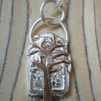 Sterling Silver and Copper Tree Pendant
