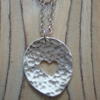 Sterling Silver Hammered Heart Nugget