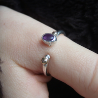 Open Set Sterling Silver Ring with Oval Amethyst