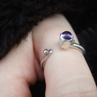 Open Set Sterling Silver Ring with Amethyst
