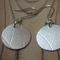 Sterling Silver Round Leaf Print Earrings