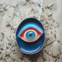 Large Sterling Silver Eye Pendant