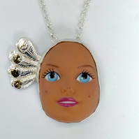 Sterling Silver Doll Face Pendant No. 16