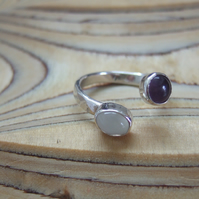 Open Set Sterling Silver Ring with Amethyst and Moonstone