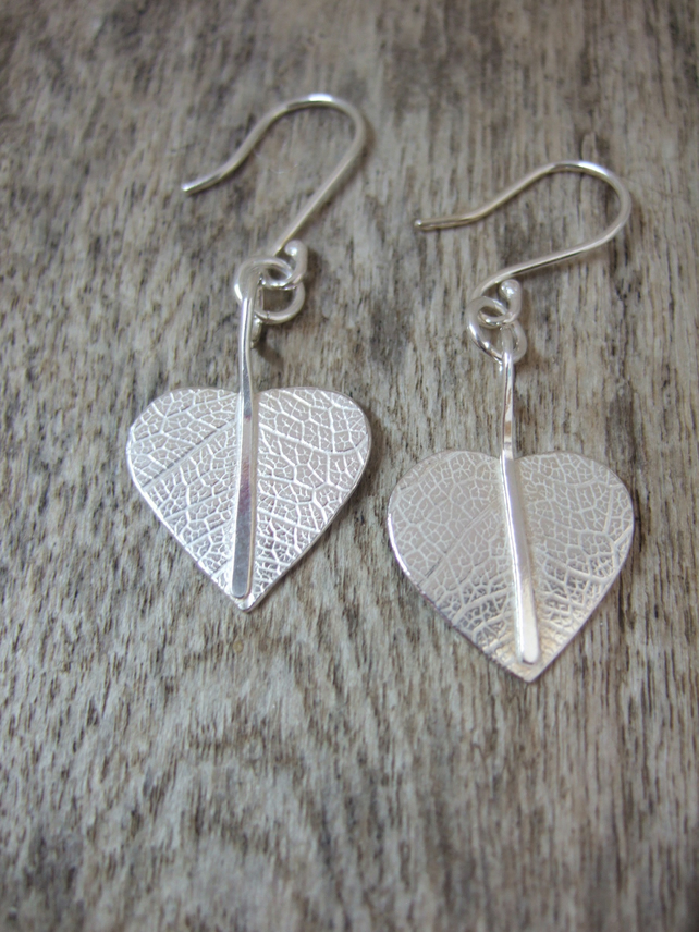 Sterling Silver Leaf print Leaf Earrings