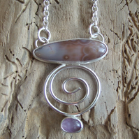 Sterling Silver Pendant with Scottish Agate and Amethyst
