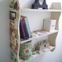 LARGE 70CM VINTAGE SHABBY CREAM `ROSE EUPHORIA` SHELVES, SHELVING UNIT.