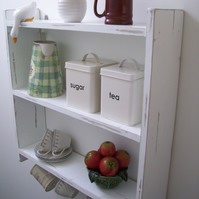 LARGE 60CM SHABBY WHITE KITCHEN SHELVES, SHELVING UNIT WITH CUP HOOKS.