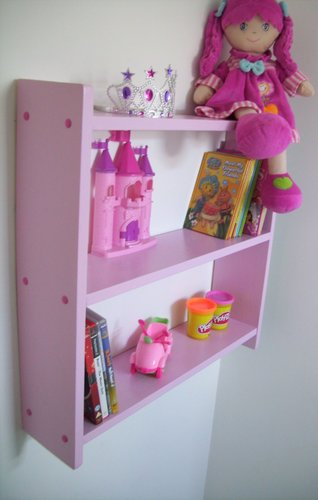 LARGE 60cm GIRLS PINK BEDROOM SHELVES, SHELVING UNIT, TOY STORAGE.