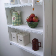 LARGE 60CM SHABBY WHITE KITCHEN SHELVES, SHELVING UNIT WITH LACE TRIM.