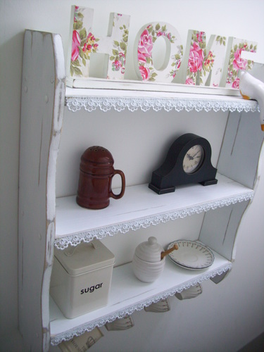 LARGE 70CM SHABBY WHITE KITCHEN SHELVES WITH LACE TRIM & CUP HOOKS, SHELVES.