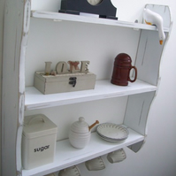 LARGE 70CM SHABBY WHITE KITCHEN SHELVES WITH CUP HOOKS, SHELVES, SHELVING UNIT.