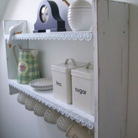 LARGE 74CM X 45CM CM SHABBY CHIC WHITE KITCHEN SHELVES, WITH LACE & CUP HOOKS