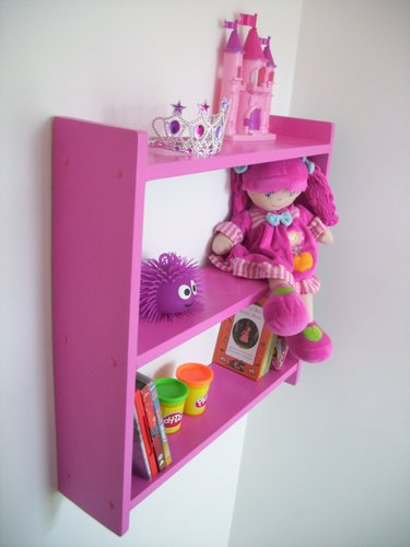LARGE 60cm GIRLS FUSCHIA PINK BEDROOM SHELVES, SHELVING UNIT, TOY STORAGE.
