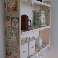 LARGE 60CM VINTAGE SHABBY CREAM `TEA TIME` SHELVES WITH LACE & CUP HOOKS.