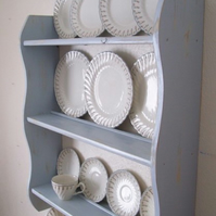 70 cm H Blue Shabby Chic Kitchen Plate Display Shelves with Cup Hooks