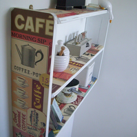 74cm W x 50cm H White Shabby Vintage Coffee Shelves, Shelf, Shelving Unit.