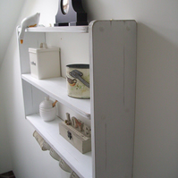 74cm W x 50cm H White Shabby Chic Shelves With Cup Hooks , Shelf, Shelving Unit.
