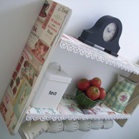 74cm W x 45cm H Vintage Shabby Cream Tea Shelves With Lace & Hooks