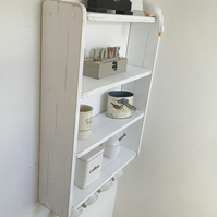 70cm H x 54cm W White Shabby Chic Shelves, Shelf, with Cup Hooks