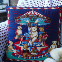 Hand Stitched - Teddy on the Roundabout - Cushion Cover
