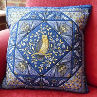 Hand Stitched Quilted Owl Cushion Cover