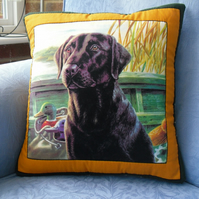 Hand Stitched Quilted Black Labrador Cushion Cover
