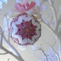 Folded Fabric Pink Hanging Decoration