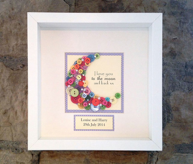 I Love You to the Moon and Back Button Wall Art - Folksy