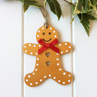 Christmas Decoration Wooden, Handmade Gingerbread Man Christmas Tree Ornament