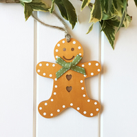 Gingerbread Man Christmas Decoration, Handmade Christmas Tree Decoration
