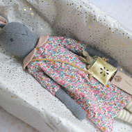 Mrs Rabbit and baby (dark grey ) Betsy Ann dark pink