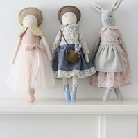 Personalised Heirloom doll or rabbit with removable clothing and accessories