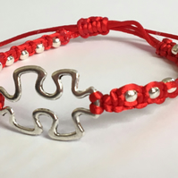 Red Macrame Bracelet & Silver Tone colour Autism Awareness Jigsaw Charm