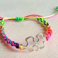 Multicoloured Macrame Bracelet. Silver Tone colour Autism Awareness Jigsaw Charm