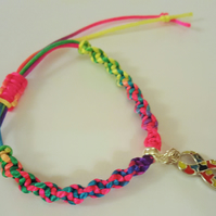 Autism Awareness Large Ribbon Charm on Multi-coloured Macrame Bracelet