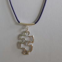 Autism Awareness Charm on Purple Leather Necklace