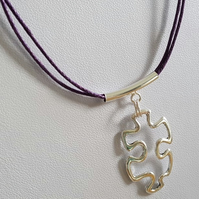 Autism Awareness Charm on Purple Waxed Hemp  Necklace