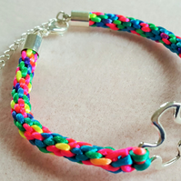 Multi-colouredKumihimo Bracelet with Autism Awareness Jigsaw Puzzle Connector