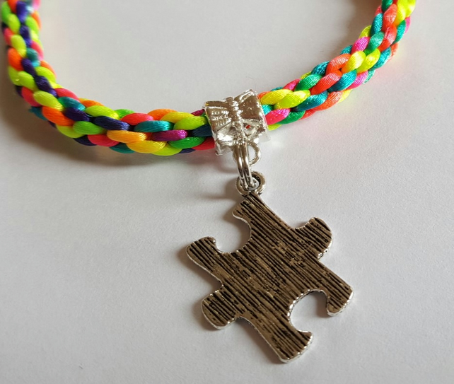 Multi Coloured Kumihimo Bracelet with Autism Awareness Puzzle Piece Charm