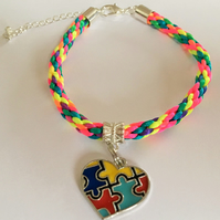 Autism Awareness Colourful Heart  Charm on Multi-coloured Kumihimo Bracelet