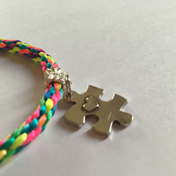 Multicoloured Kumihimo Bracelet & Autism Awareness Puzzle Piece & Heart Charm