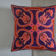 Purple and red 'Ana' cushion, made from soft cotton, handmade, 45 cm x 45 cm