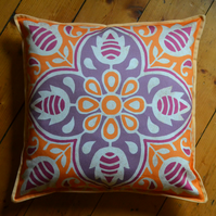 Yellow cushion cover, Indian inspired 'Prajna' design, made with soft cotton