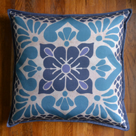 Unique Blue 'Jasmine' Cushion, Handmade in the UK using Soft and Comfy Cotton