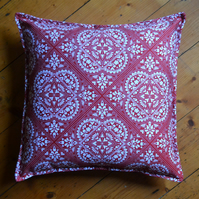 Red and white Freyja cushion, 100% cotton, hand made in the UK