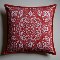 "100% cotton, 18"" red and white 'Freyja' cushion"